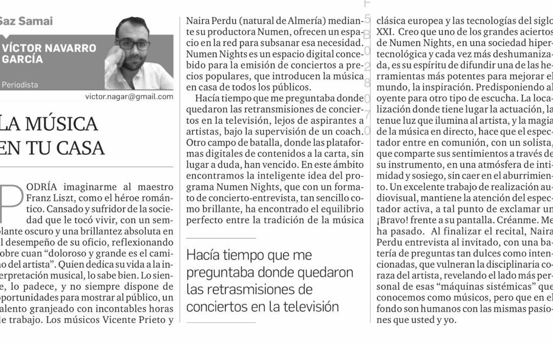 Crítica de Numen Nights en el Diario de Almería