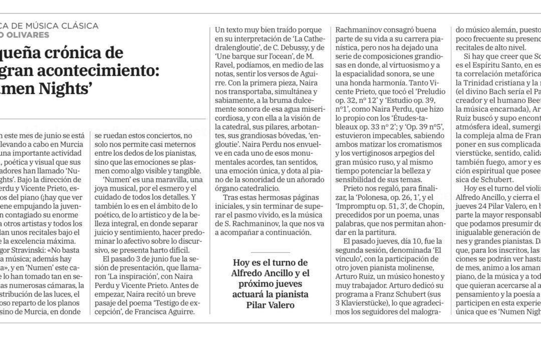 Crítica de Numen Nights en el periódico La Verdad